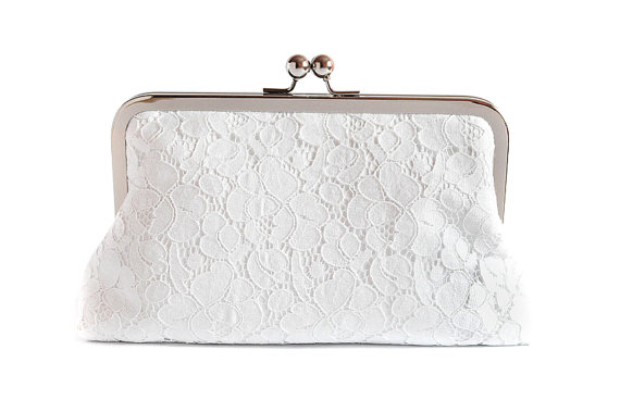 Mariage - White Purse  Lace Clutch Something Blue Wedding Gift Large Size purse Ready to Ship Made in England UK