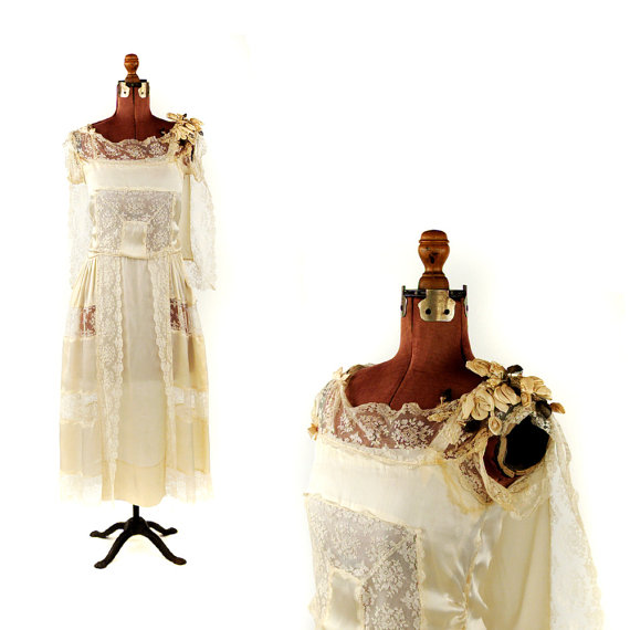 Hochzeit - Vintage 1910's Cream Rayon Silk Sheer Floral Lace Edwardian Romantic Cape Art Nouveau Wedding Dress