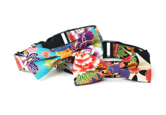 Свадьба - Kimono dog cat collar with bowtie for family photo, wedding and everyday run!