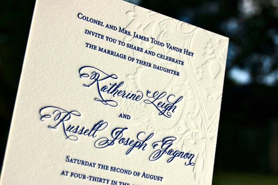 Hochzeit - Wedding Invitations Letterpress Blind Embossed Paisley