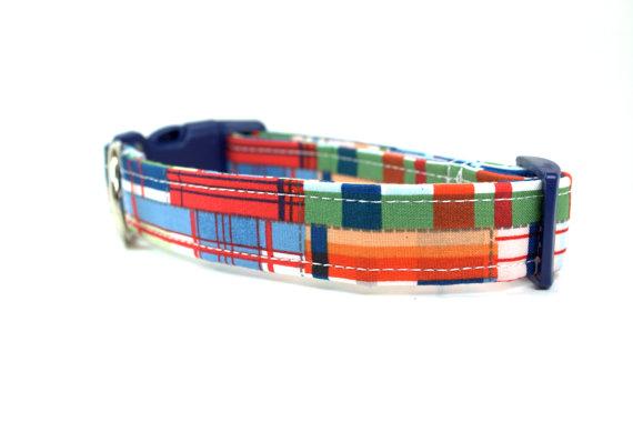 زفاف - Plaid Dog Collar / Style: Lakeside Plaid / Boy Dog Collar / Wedding Dog Collar