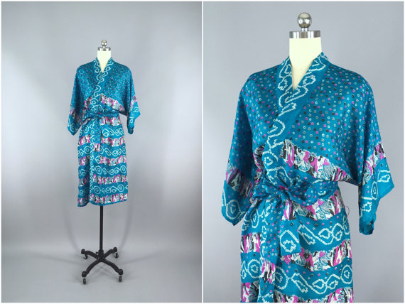 زفاف - Silk Robe / Silk Sari Robe / Silk Kimono Robe / Vintage Indian Sari / Silk Dressing Gown Wedding Lingerie Boho Bohemian Turquoise Blue Dots