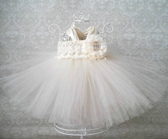 Baby Ivory Lace Flower Girl Dress Infant Flower Girl