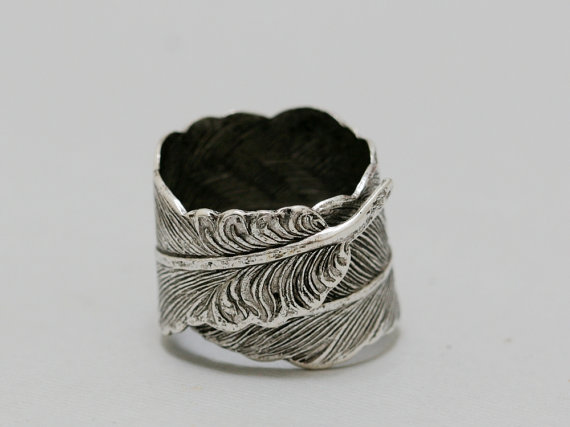 Wedding - Silver Feather,Jewelry Gift, Ring,Silver,Flower,Antique Ring,Silver Ring,Blossom,Wedding,Bridesmaid.Iris Ring