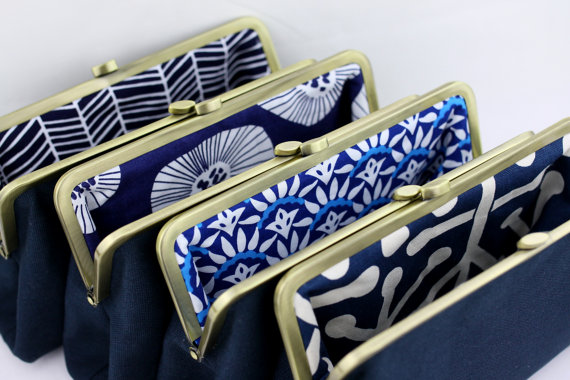 Mariage - Solid Navy Bridesmaids Clutches with Various Linings / Design your Own Clutches for your Wedding Party / Wedding Gift - Set of 8