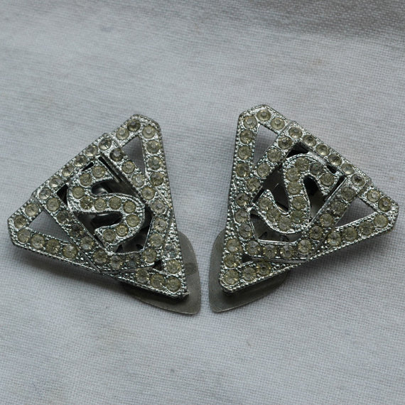 Set Of Two Vintage Art Deco Rhinestone Dress Shoe Clips Estate