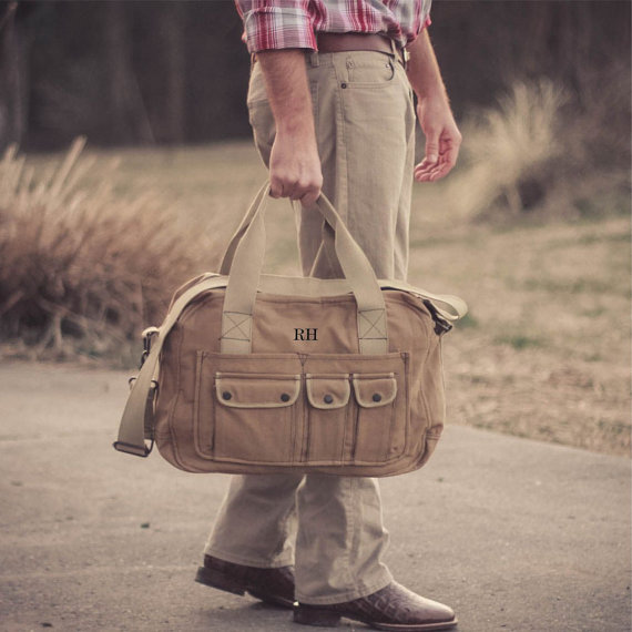 Свадьба - Unique Groomsmen gift Personalized Vintage Overnight Bag Military Canvas Duffel Duffle Travel Tool Bag Groomsman gifts