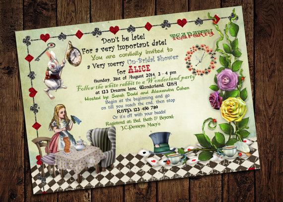 Alice in wonderland bridal shower invitation mad hatter tea party alice in wonderland bridal shower invitation mad hatter tea party printable diy filmwisefo