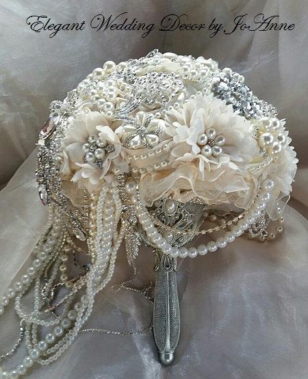 Свадьба - Vintage Style Ivory Cascading Jeweled Bouquet- DEPOSIT for an Elegant Ivory Cascading Brooch Bouquet, Ivory Wedding Bouquet, full price 565