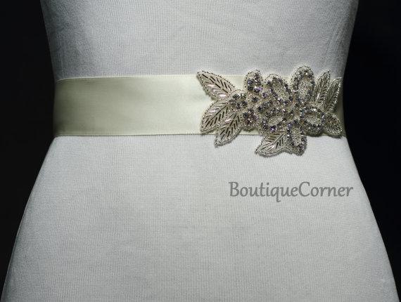 Wedding - Bridal Sash-Beaded Rhinestone Sash-Wedding Accessory-Ivory Ribbon Sash-Bridal Belt-Bridal Accessories