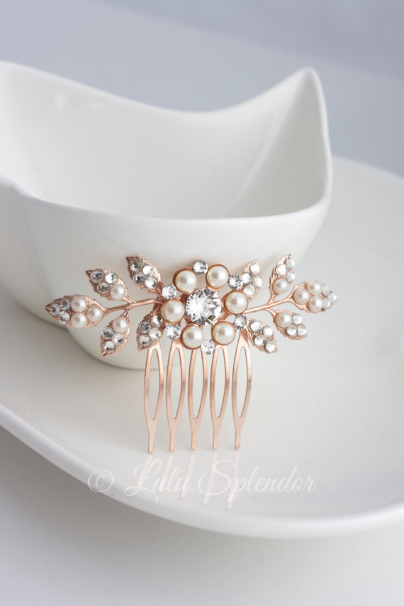 زفاف - Bridal Comb Rose Gold Wedding Hair Comb Small Hair Comb Pearl Crystal Leaf Comb MACY