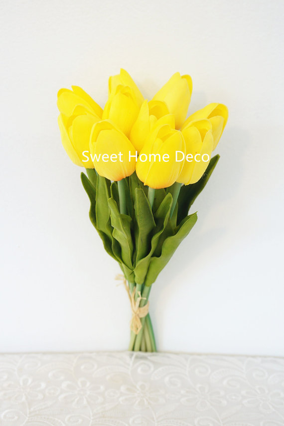 Wedding - JennysFlowerShop Latex Real Touch 13'' Artificial Tulip 10 Stems Flower Bouquet for Home/Wedding Yellow Re-stock on 08/10/15