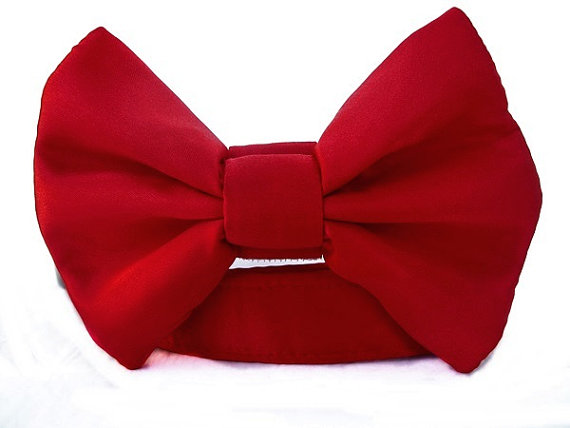 زفاف - Satin Wedding Bow Tie Dog Collar - Red Satin