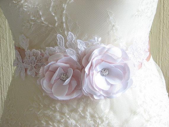 Wedding - Wedding sash Blush ribbon sash White blush wedding sash Blush white sash Blush wedding dress White blush wedding White blush bride sash