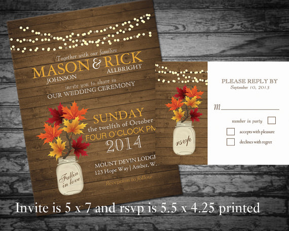 Rustic Fall Wedding Invitations: Rustic Fall Wedding Invitation With Fall Leaves In A Mason