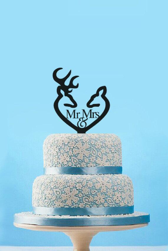 Свадьба - Custom Mr & Mrs wedding Cake topper,unique deer heart wedding cake topper,personalized deer anniversary cake topper,wedding cake decoration