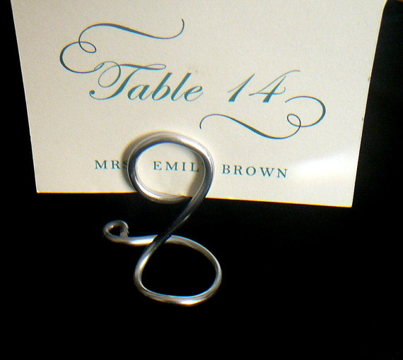 Wedding - Silver Table Number Card Holders, Holds 5 x 7, 5pcs