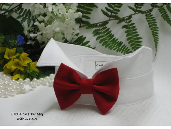Свадьба - Red Satin Bow on Wingtip Tuxedo Dog Collar~ Custom Made~ Dog Wedding Collar~Marry Me~Dog Tuxedo~Dog Bow~Pet Bow Tie~Free Shipping Within USA