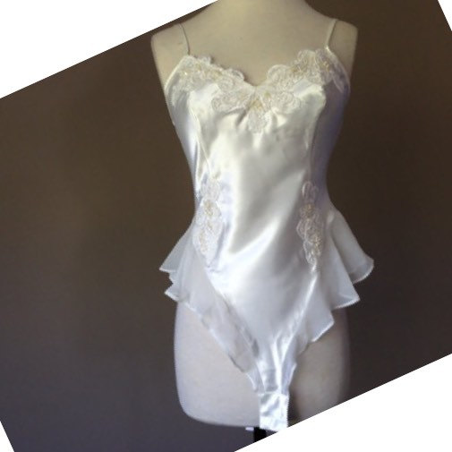 Hochzeit - L / Satin Teddy Lingerie / By Victoria's Secret / White Bridal / Size Large / FREE Shipping
