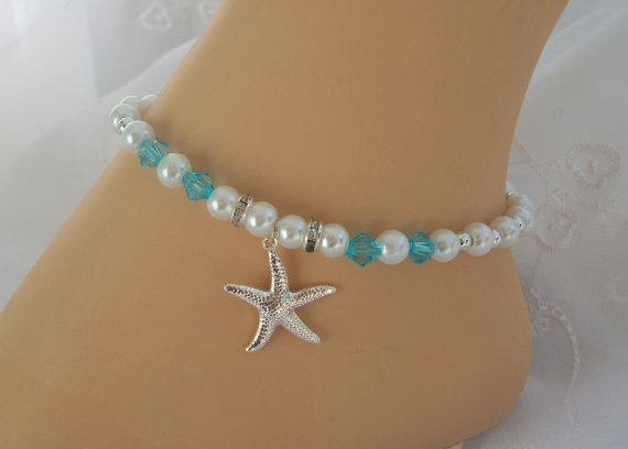 Mariage - Blue Crystal & Pearl Starfish Anklet Bridesmaid Gift Beach Wedding Bridal Jewelry Starfish Theme Starfish Jewelry