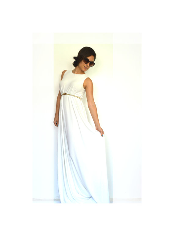 Boho wedding dress white maxi dress summer wedding dress for Boho casual wedding dress