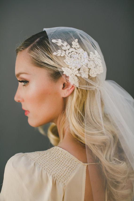 Wedding - Lace Juliet Cap Veil, Bridal Veil, Wedding Veil, Alencon Lace Veil  Bohemian Veil, Champagne Veil, Cathedral Veil, Fingertip Veil  #1561