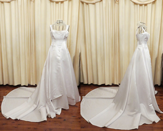 Свадьба - Vintage Off White 50s Style Cathedral Train Princess Wedding Dress With Swarovski Crystal Details