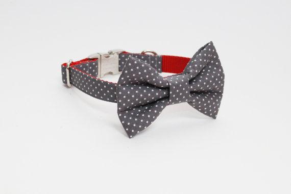 زفاف - Gray Polka Dot Adjustable Bow Tie Dog Collar