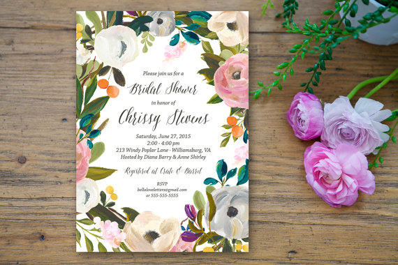 blooming flower bridal shower invitation custom 5x7 printable fresh floral bridal wedding shower invite acrylic painting calligraphy jungle