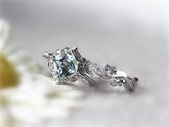 Mariage - Unique 2 Rings Set - 7mm Cushion Aquamarine Wedding Set Diamond Eternity Matching Band 14K White Gold Aquamarine Gems Ring Engagement Ring