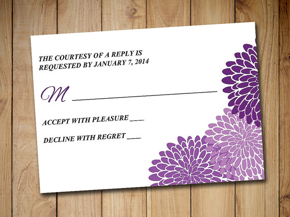 Wedding rsvp template response card printable wedding invitation wedding rsvp template response card printable wedding invitation rsvp card chrysanthemum purple rsvp instant download stopboris Image collections