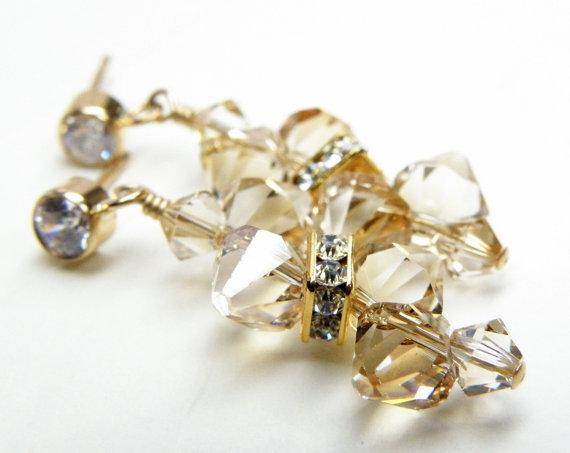Свадьба - Champagne Crystal Earrings, Yellow Topaz, Citrine Swarovski Gold Filled, Bridal Wedding Handmade Jewelry, Bridesmaid Gift, November Birthday