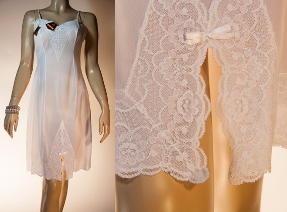 Wedding - NWT unworn - enticing soft and sheer Huber bridal white Perlon and luxurious white lace detail 1960's vintage full slip petticoat - 3023