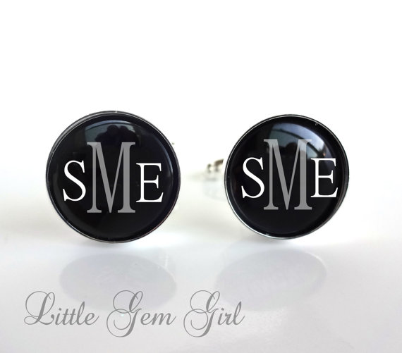 Свадьба - Set of 7 Groomsmen Cufflinks Custom Initial Cufflinks Monogram Cufflinks Wedding Cufflinks Silver Plated - Wedding Cuff Links for the Groom