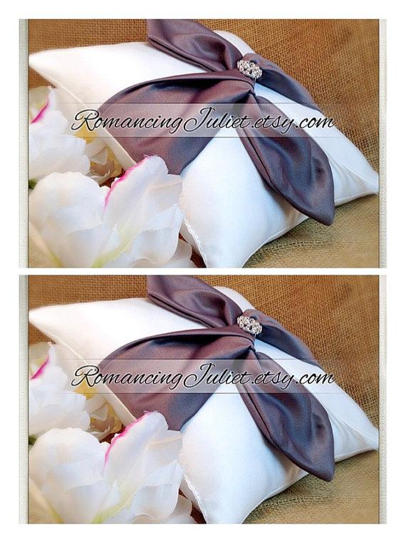Wedding - Knottie Ring Bearer Pillow with Rhinestone Accent...You Choose the Colors....SET OF 2..shown in white/pewter gray