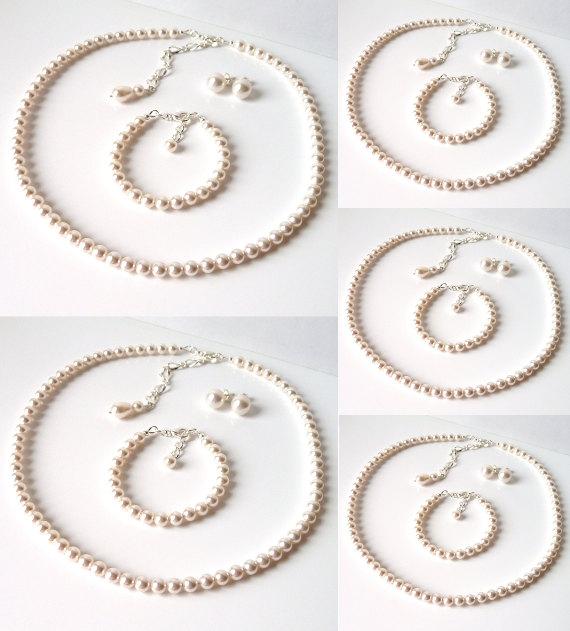 زفاف - Pearl Bridesmaid Jewelry SET OF 5, Ivory or White Pearl, Bridesmaid Gift, Wedding Jewelry Set, 3 Piece Jewelry Set, Pearl Bridal Jewelry Set