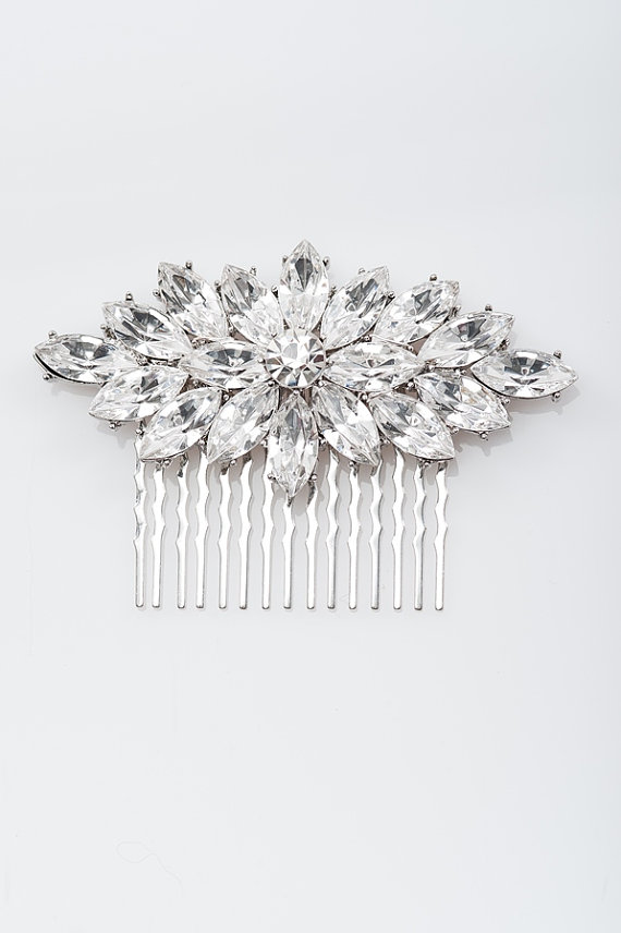 Mariage - crysta hair comb ,  bridal hair comb, wedding rhinestone hair comb, veil comb - CB0012
