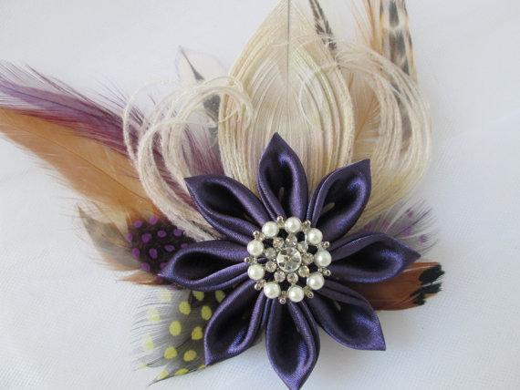 Mariage - Plum Purple Wedding Hair Fascinator, Peacock Feather Bridal Hair Piece, Rustic Bridal Head Piece, Accessory, Birdcage Veil