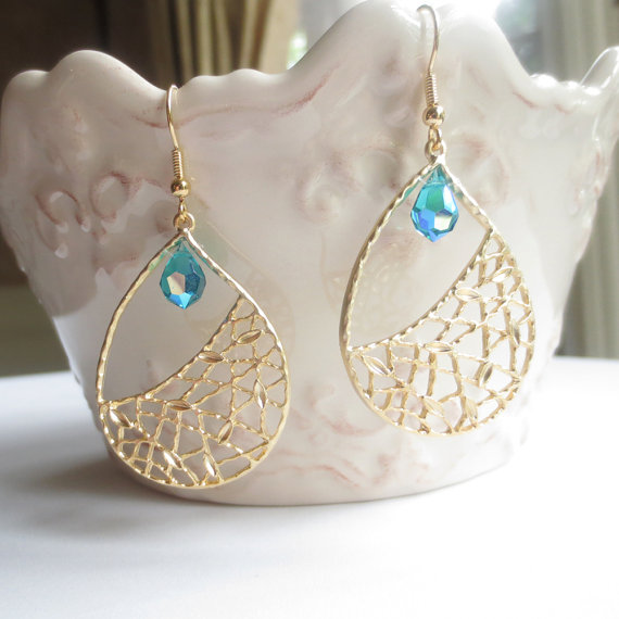 Mariage - Green Gold, Dangle Earrings, Drop Earrings, Bridesmaid Gift, Wedding Jewelry, Blue, Turquoise, Gold Flower Teardrop, Graduation Gift, EJ341