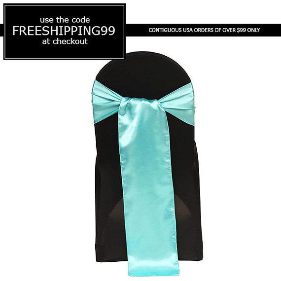 Mariage - Turquoise Satin Chair Sash
