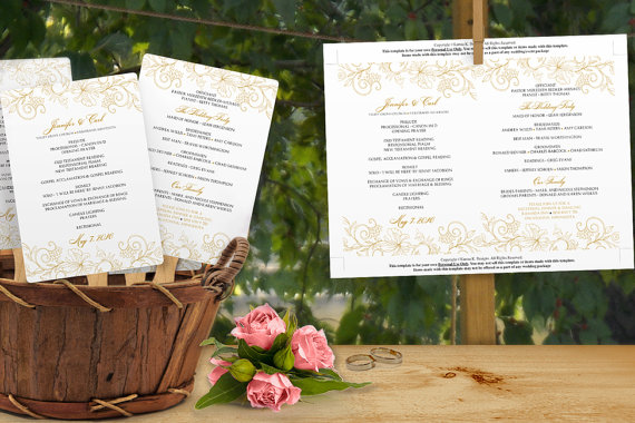 Mariage - INSTANT DOWNLOAD - Wedding Fan Program Template - Vintage Bouquet (Gold) 5 x 7 - Microsoft Word Format