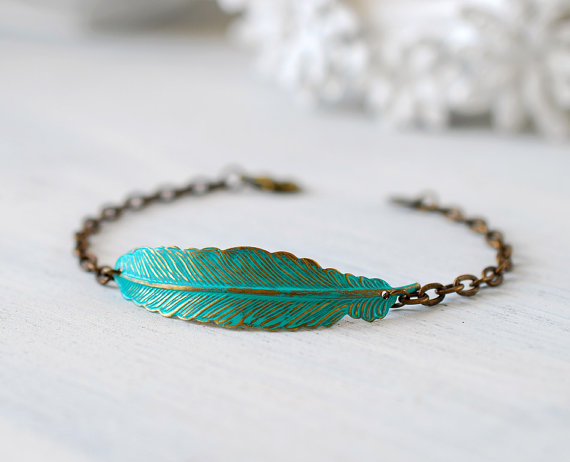Mariage - Feather Bracelet. Blue Patina Verdigris Brass Feather Bracelet,  Woodland Jewelry,  Bohemian Jewelry,  Feather Jewelry
