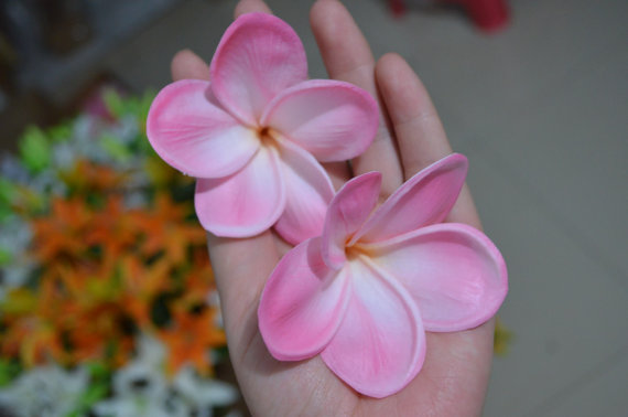Mariage - Natural Real Touch Pink Artificial Silk frangipani flower heads for cake decoration