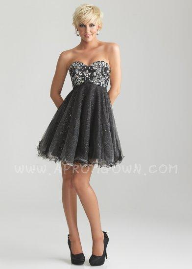 Свадьба - Black Short Beaded Embellishment Party Dress by Night Moves 6739