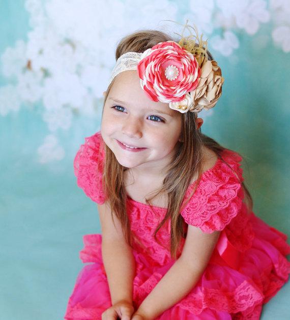 Свадьба - coral lace dress headband SET,Toddler,baby dress,Flower girl dress,First/1st Birthday Dress,Vintage style,girls photo outfit