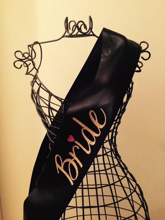 Mariage - Bachelorette Party Sash, Bridal Sash, Bride Sash, BLACK