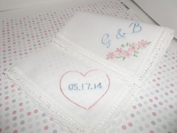 Mariage - Personalized something blue wedding handkerchief, hand embroidered, bouquet wrap, bridal gift, wedding colors welcome