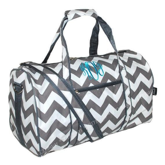 Duffle Bag Personalized Overnight Cheer Bridesmaid Chevron Gray Monogram Duffel 17 5