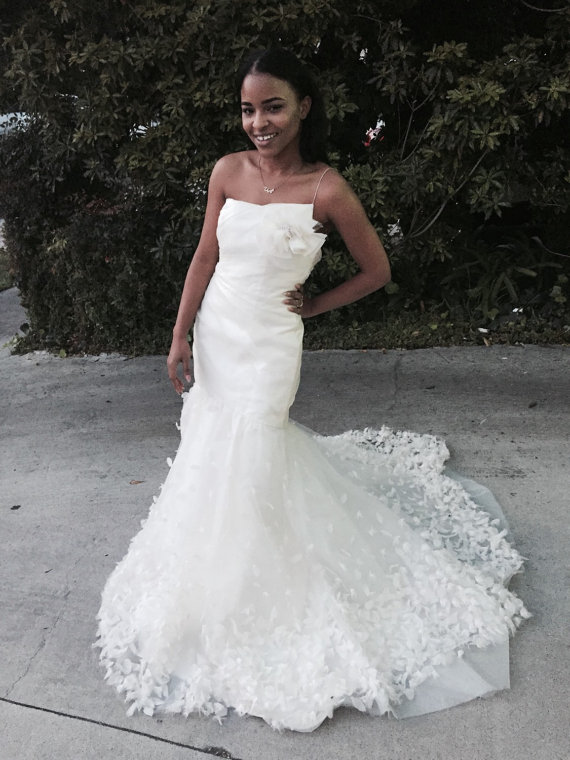 Свадьба - Gathered Chiffon Mermaid Wedding Dress with Feather Detail