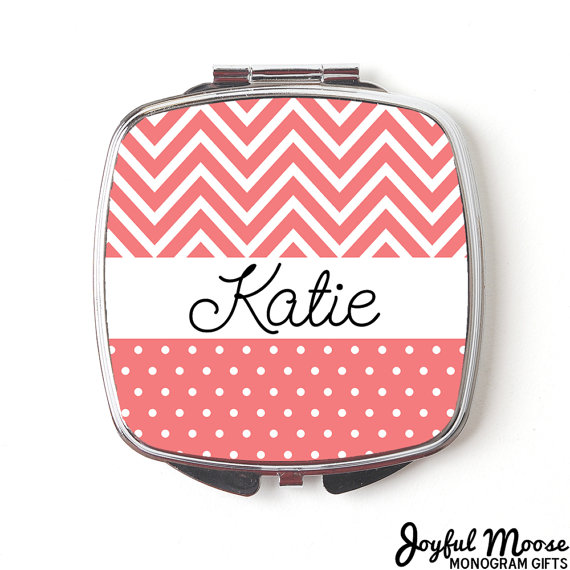 Wedding - Personalized Compact Mirror - Coral Personalized Purse Mirror - Personalized Bridesmaids Gifts